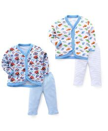 Dinosaurs Printed Sets Of 2 Vests & Pyjamas - Sky Blue