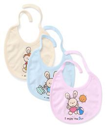 Simply Tie Up Bib Bunny Print - Yellow Blue Pink