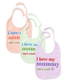 Simply Tie Up Bib Love My Mommy Print - Green Lavender Peach