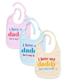 Simply Tie Up Bib Love My Mommy Print - Pink Cream Blue