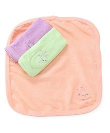 Simply Napkins Bunny Embroidery Pack Of 3 - Peach Lavender Green