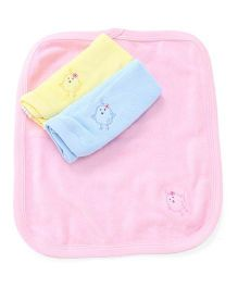 Simply Napkins Chick Embroidery Pack Of 3 - Pink Yellow Blue