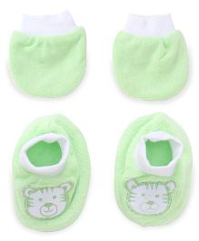 Simply Mittens And Booties Set Tiger Print - Green