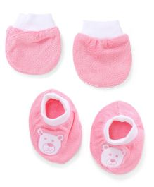 Simply Mittens And Booties Teddy Print - Pink