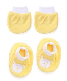 Simply Mittens And Booties Teddy Print - Yellow