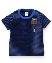 Simply Half Sleeves Striped T-Shirt Ready Go Patch - Navy Blue