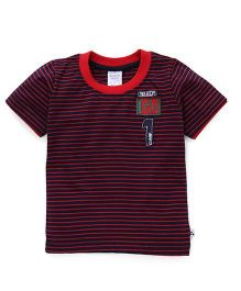 Simply Half Sleeves Striped T-Shirt Ready Go Patch - Red & Navy