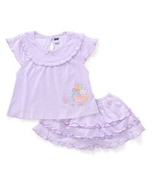 Simply Cap Sleeves Skirt And Top Set Bunny Print - Lavender