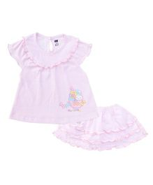 Simply Cap Sleeves Skirt And Top Set Bunny Print - Pink