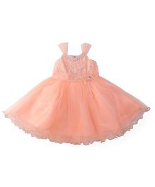 Bluebell Sleeveless Frock With Flower Applique - Peach