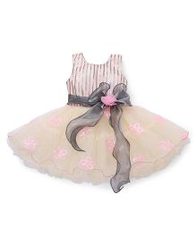 Bluebell Sleeveless Party Frock Floral Applique - Cream Pink Grey