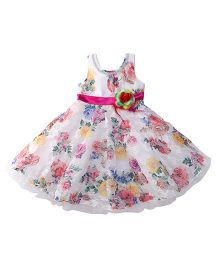 Bluebell Sleeveless Frock With Flower Applique - White Pink