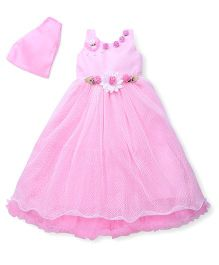 Bluebell Sleeveless Gown Pearl & Floral Applique - Pink
