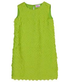 Teeny Tantrums Shift Dress With Fabric Sequence - Lime  Green