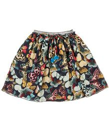 Teeny Tantrums Butterfly Printed Skirt With Rhinestones - Multicolor