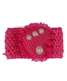 Mauve Collection Cute & Pretty Pearl Embellished Headband - Dark Pink