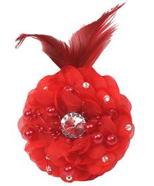 Mauve Collection Cute Floral Embellished Clip - Red