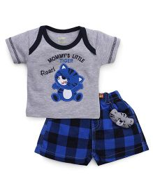 Wow Clothes T-Shirt And Shorts Set Tiger Patch - Grey And Blue