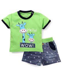 Wow Clothes Half Sleeves T-Shirt And Shorts Set Giraffe Print - Green And Blue