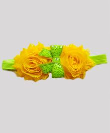 Reyas Accessories Sequined Vintage Bow With Rose Headband - Yellow & Green