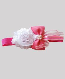 Reyas Accessories Bow Knot Rose Headband - Pink & White