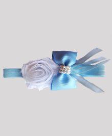 Reyas Accessories Bow Knot Rose Headband - Blue & White