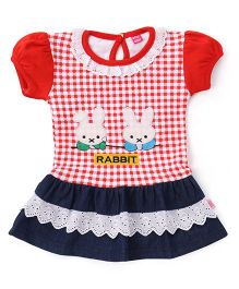Wow Girl Puffed Sleeves Frock Rabbit Print - Red Blue