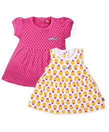 Wow Girls Short And Sleeveless Frocks Pack of 2 - Yellow Pink