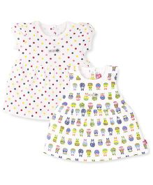 Wow Girls Short And Sleeveless Frocks Pack of 2 - Off White