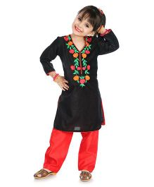 Little Pockets Store Floral Embroidered Velvet Kurti With Pant - Black & Red
