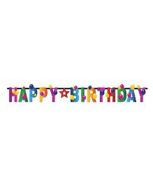Wanna Party Happy Birthday Balloon Letter Banner - Multicolor