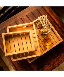ExclusiveLane Handcrafted Wood Serving Tray Set of 3 - Brown
