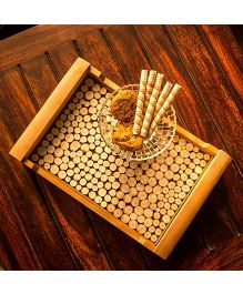 ExclusiveLane Wooden Cut Pieces Serving Tray - Brown