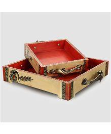 ExclusiveLane Warli Handpainted Wooden Tray Set - Natural White & Gold