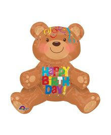Bling it On Happy Birthday Teddy Bear Balloon - Brown