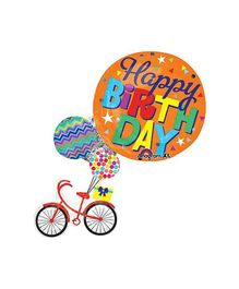 Bling it On Happy Birthday Bike Balloon - Orange