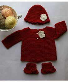 The Original Knit Flower Applique Sweater Set With Cap & Booties - Red