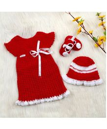 The Original Knit Crochet Frock With Cap & Booties Set - Red & White