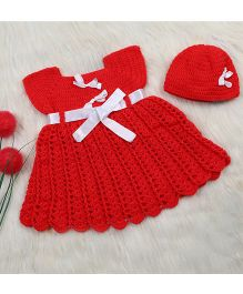 The Original Knit Crochet Dress With Ribbon Belt & Cap Set - Red