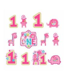 Bling it On Wild At One 1st Birthday Cutouts Pack of 12 - Pink