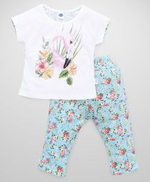 Teddy Short Sleeves Capri Night Suit Flamingo And Flower Print - White