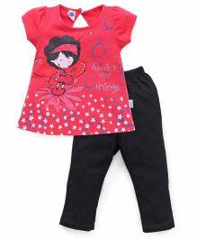 Teddy Short Sleeves Capri Night Suit Always Nice Things Print - Pink