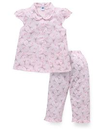 Teddy Short Sleeves Night Suit Allover Eiffel Tower Print - Pink