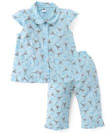 Teddy Short Sleeves Night Suit Allover Eiffel Tower Print - Blue