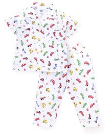 Teddy Half Sleeves Night Suit Car Print - White