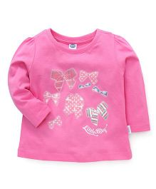 Teddy Full Sleeves T-Shirt Bow Print - Pink