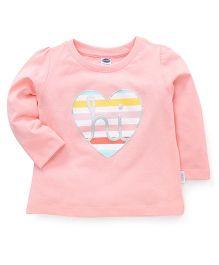 Teddy Full Sleeves T-Shirt Heart Print - Peach