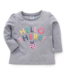 Teddy Full Sleeves Printed T-Shirt - Grey