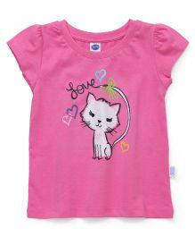 Teddy Short Sleeves Top Cat Print - Pink