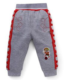 Wow Clothes Track Pants Bear Patch - Grey And Red